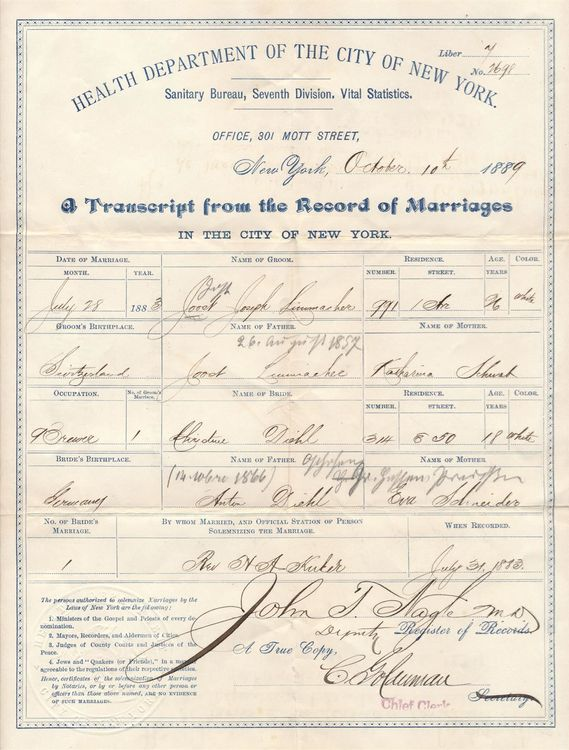 1889, Transcript of Marriage, New York