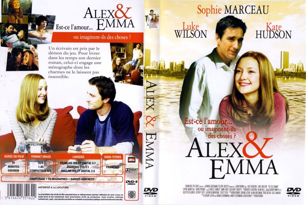 ALEX & EMMA Kate Hudson Luke Wilson DVD