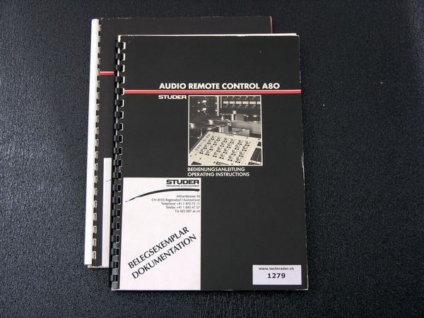 STUDER A80 audio remote manual