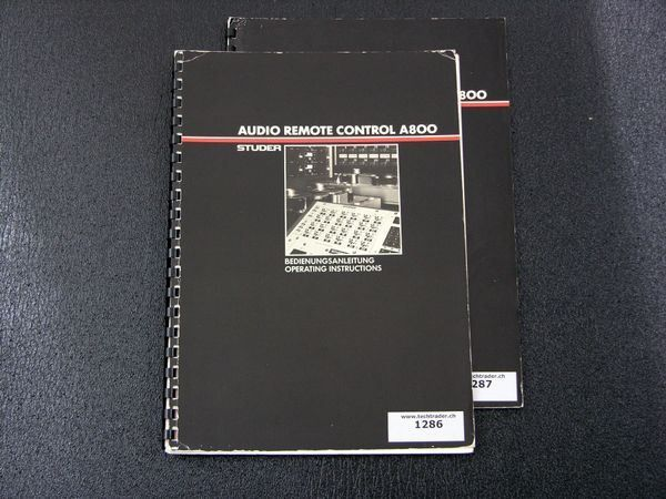 STUDER A800 audio remote manual
