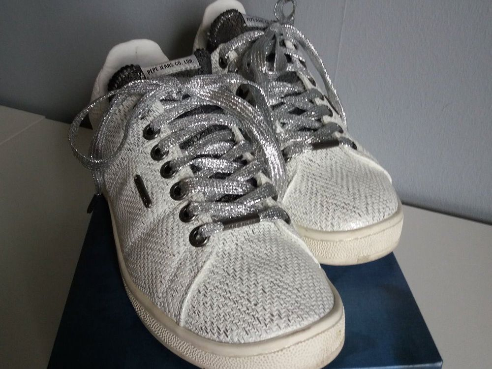 Sneakers blancs/argent Pepe Jeans