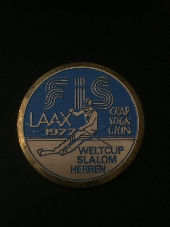 Ansteckmedaille FIS Weltcup Laax 1977