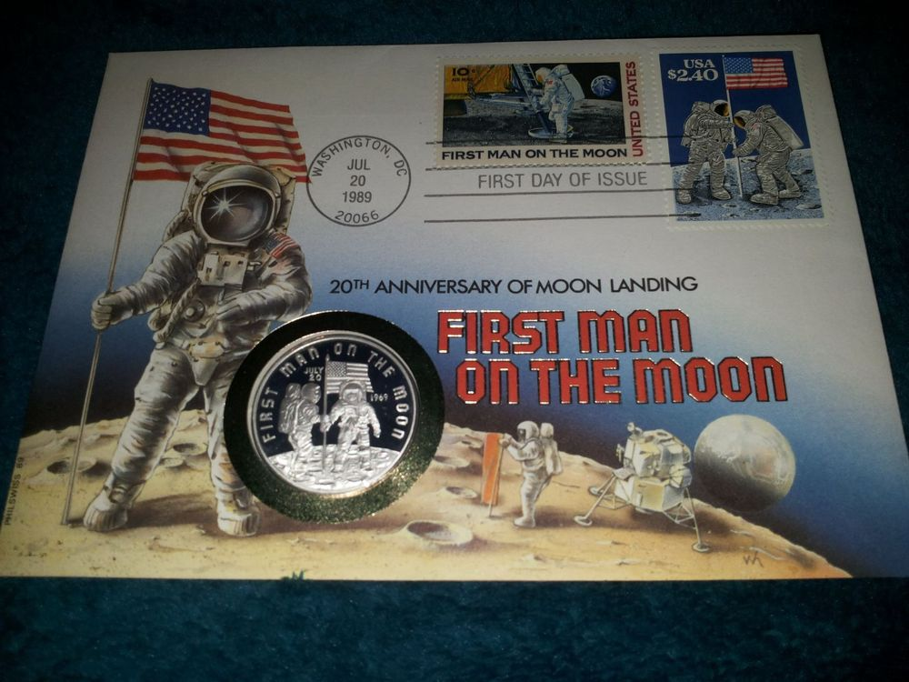 Münzbrief First Man on the Moon - Silber