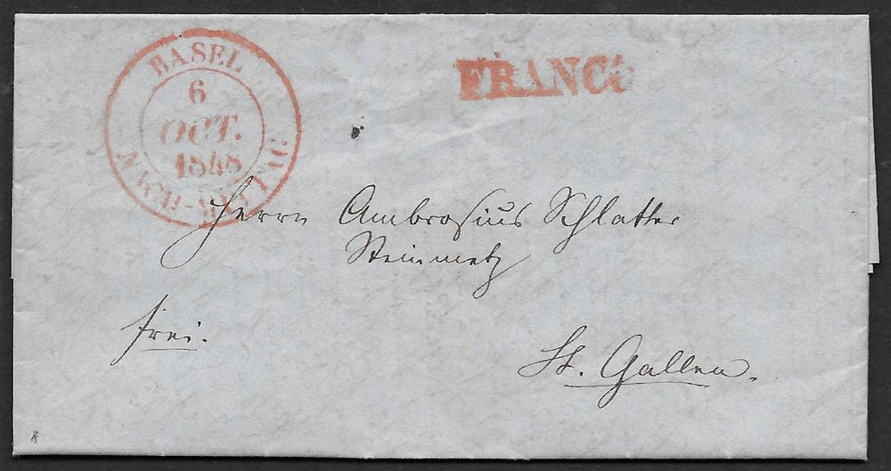 Basel, 6.Oct.1848,rouge. L. pour St.Gall
