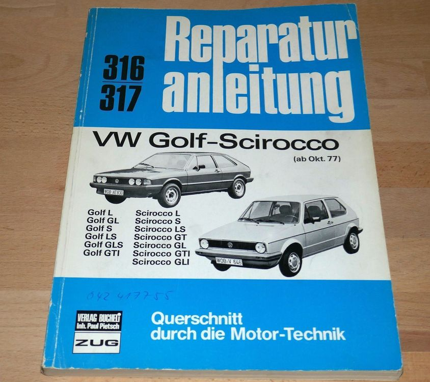 BUCHELI VW Golf Scirocco Reparaturanleit