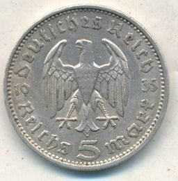 Germany 5 Mark 1935 F en argent