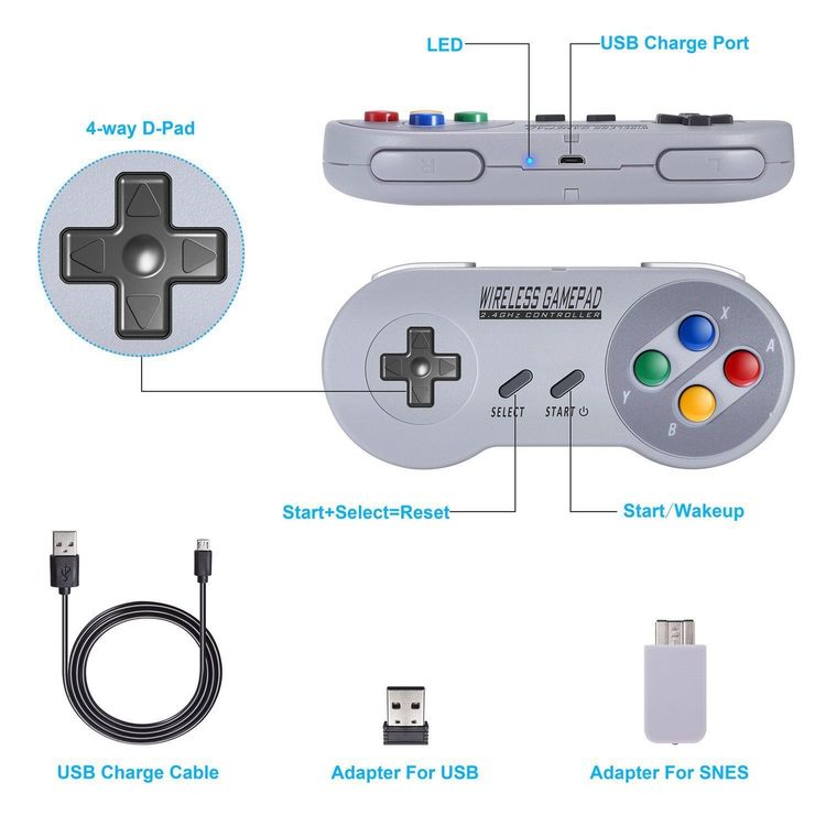 Wireless Game Controller for SNES,PC