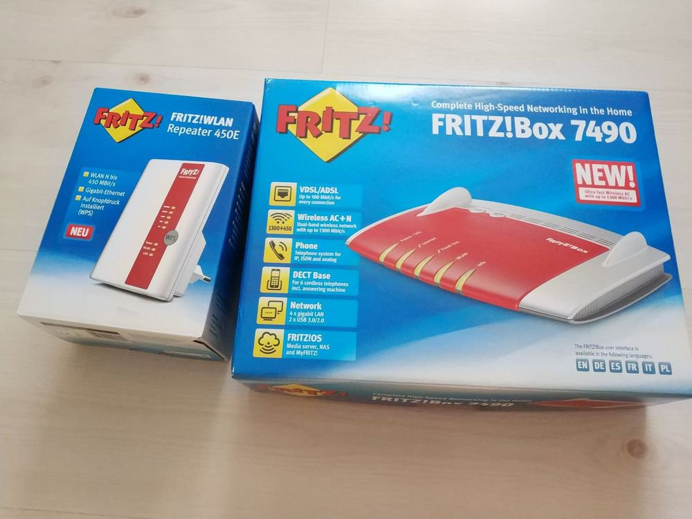 FritzBox 7490 + Fritz Repeater 450E