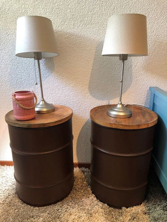 One of a kind - oil drum night tables
