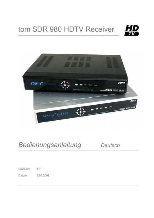 TOM SDR980 Sat Receiver HD Silber