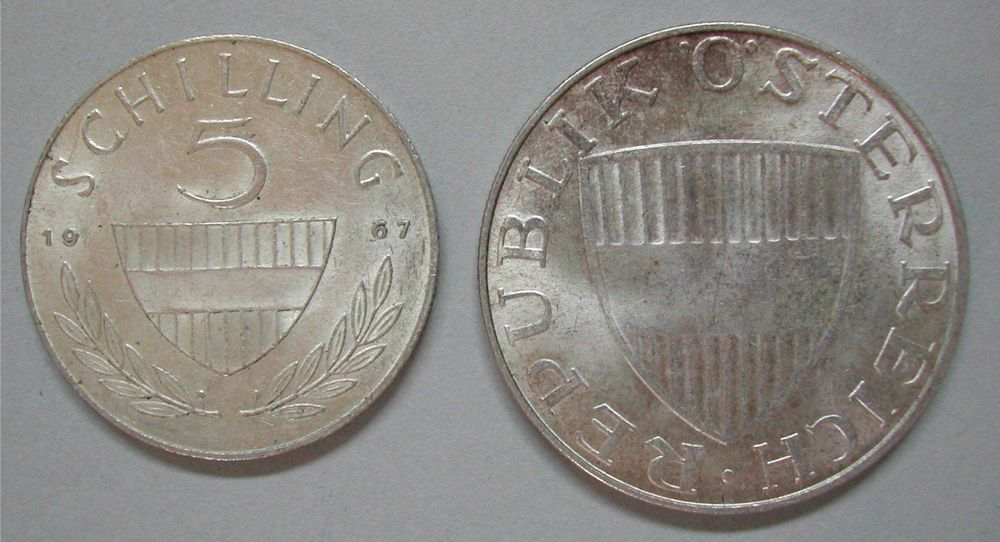 227 A, 5 + 10 SHILLING 1967 + 68, SILBER