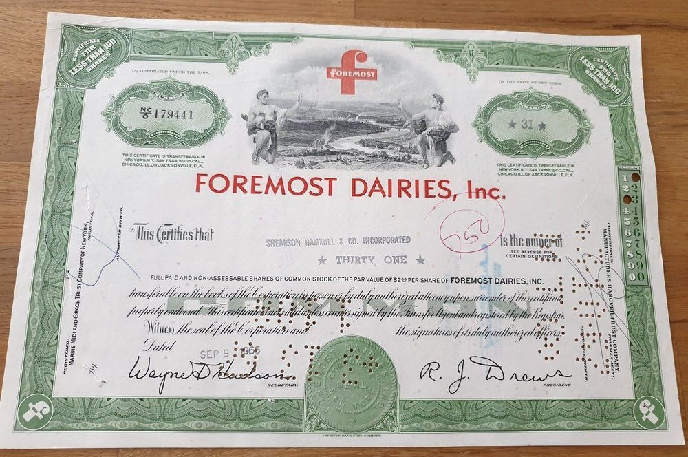 Foremost Dairies, Inc. - 31 Shares