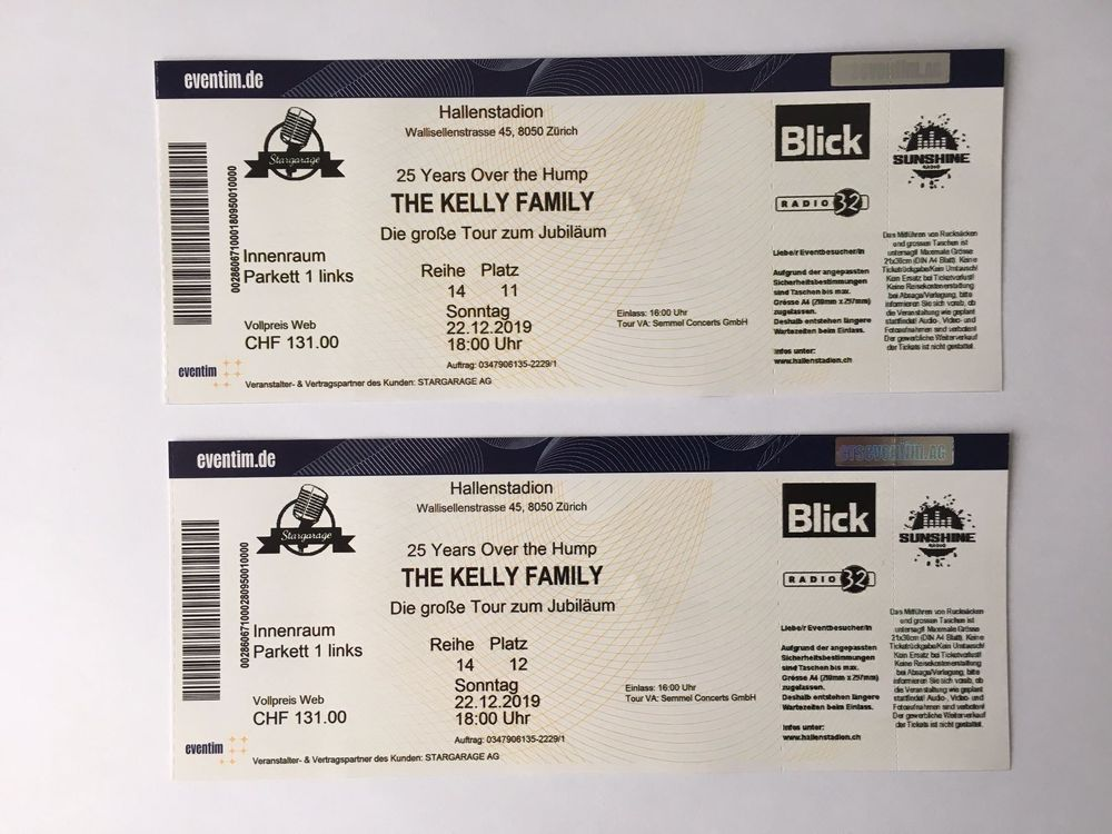 2 Tickets- The Kelly Family- Zürich