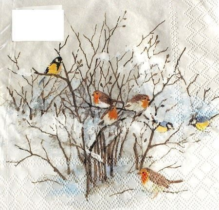 Serviette birds on branches (1211) 2Stk.