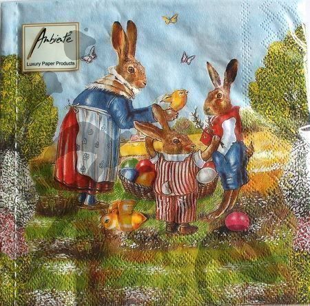 Serviette family hare 2Stk.