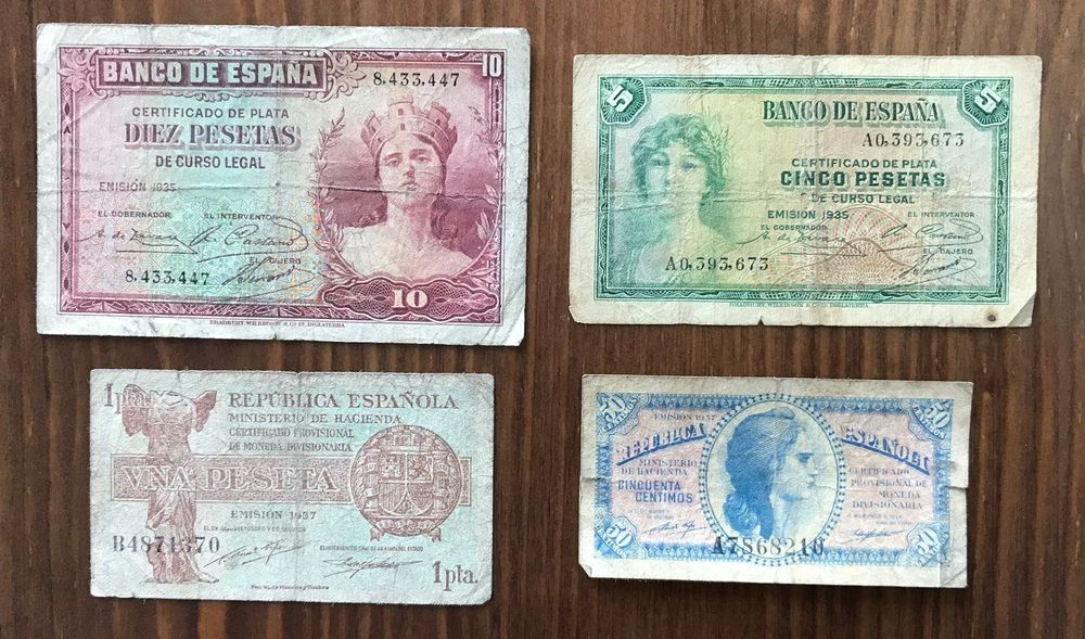 4 old Spanish banknotes (1935 and 1937)