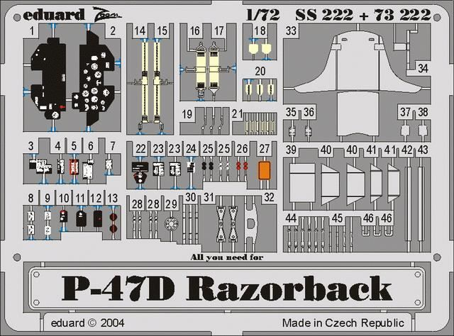 1/72 Photoetched P-47D Eduard 73222