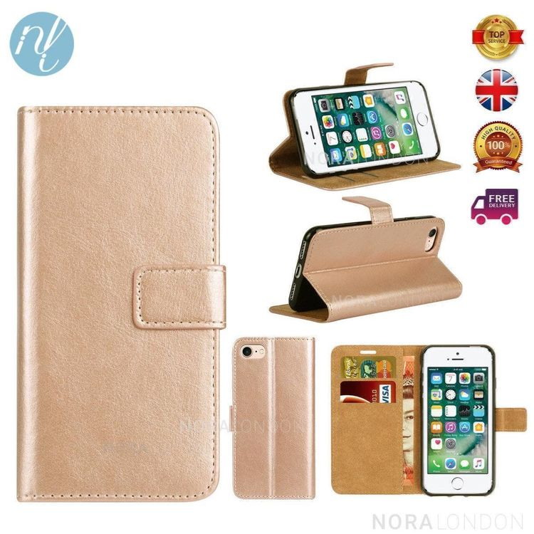 iPhone 5 5S Etui PU Hülle Gold
