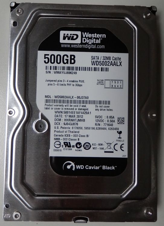 Western Digital 500GB, 3.5""