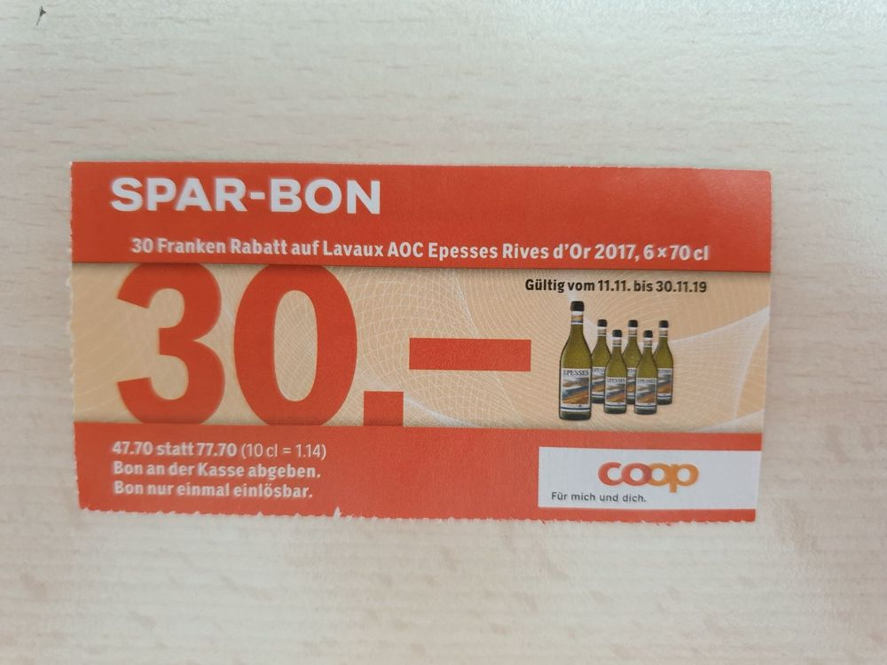 CHF 30 Coop Sparbon Weisswein / Epesses