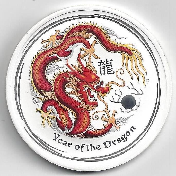 2 Silber-Unze Year of the Dragon 2012
