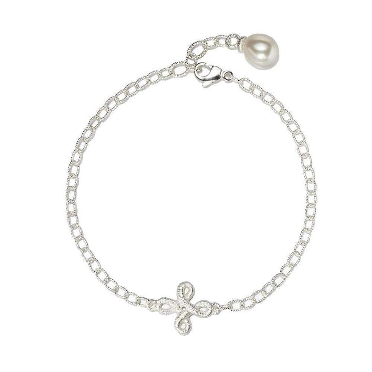 """Armband """"Pique Dame"""" mit Perle in Silber"""