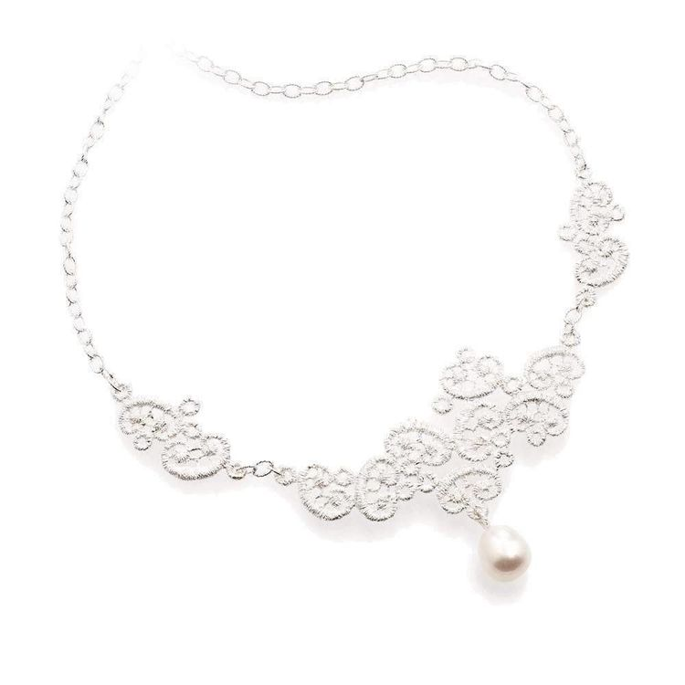 """Collier """"Figaro"""" in Silber mit Perle"""