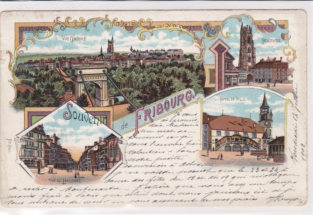 Fribourg, litho, 4 vues 1