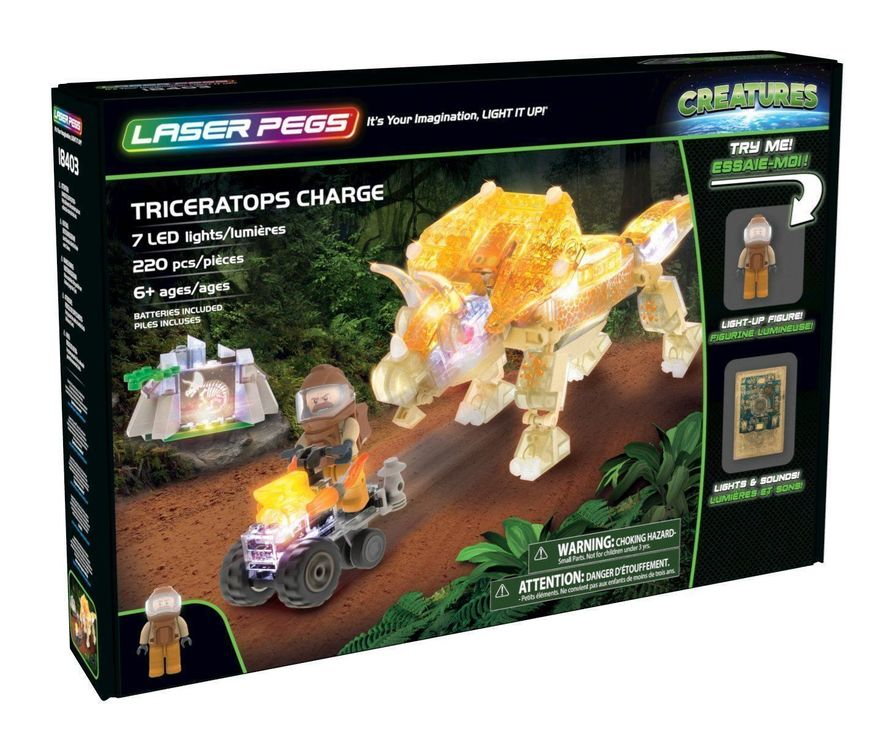 LASER PEGS Triceratops Charge 7 LED 1