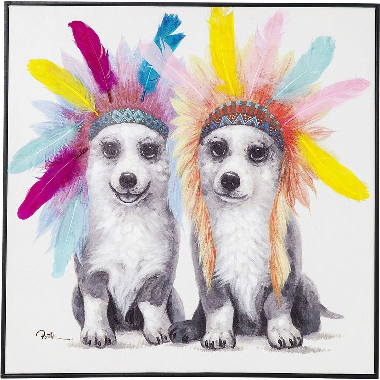Picture Touched Chief Chiens 70x70cm 1
