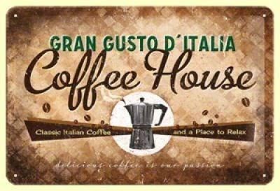 Blechschild-COFFEE HOUSE GRAND GUSTO
