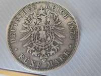 1876 5 Mark Willhelm II Kaiser vPreussen