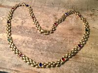 VINTAGES COLLIER GOLD DOUBLÉ STEINE