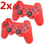 2x PS3 Controller Wireless Gamepad Rot