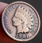 """AMERIKA ONE CENT 1901 """"INDIAN HEAD"""""""