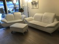 3-teiliges Ledersofa weiss