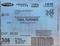 Originalticket Tina Turner Jahr 2000