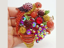 Rot Papagei Kette + Brosche Red Parrot