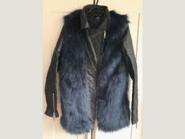 Faux leather & fur coat