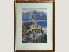 "Original Aquarell Unl Sign ""Locarno"""