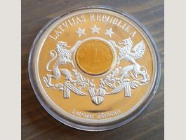 Lettland-Inlaymünze PP-->Silverplated