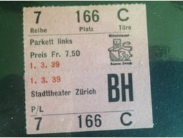 Ticket STADTTHEATER Zürich 1939