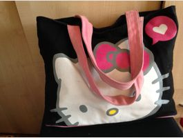 Grand sac marque Hello Kitty noir - rose