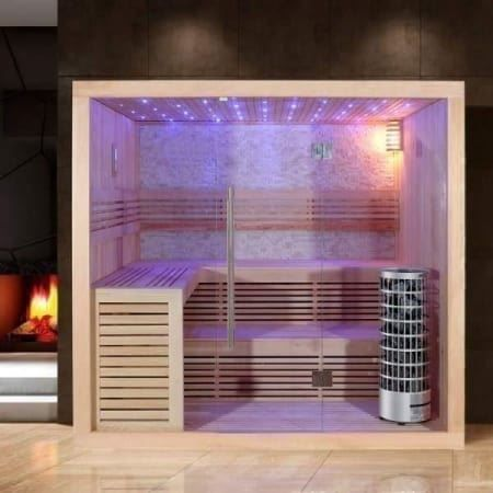edle sauna mit glasfront und farblicht in ziefen kaufen bei. Black Bedroom Furniture Sets. Home Design Ideas