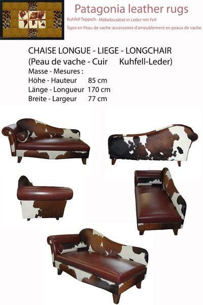 chaise longue en peau de vache et cuir arbedo acheter sur. Black Bedroom Furniture Sets. Home Design Ideas