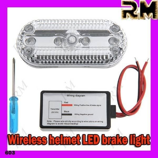 Wireless 4-LED Helmet  Brake Light