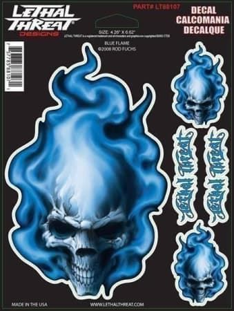 Lethal Threat Aufkleber Blue Flame Skull