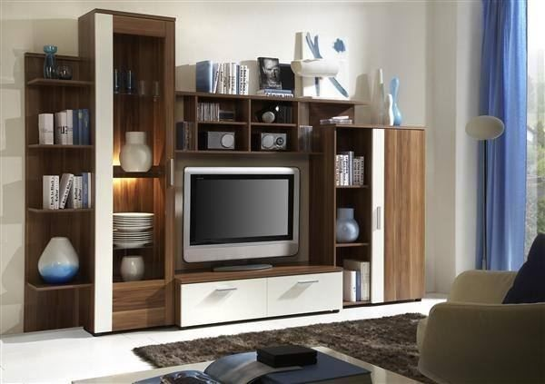 wohnwand nussbaum weiss mit beleuchtung in schaffhausen kaufen bei. Black Bedroom Furniture Sets. Home Design Ideas