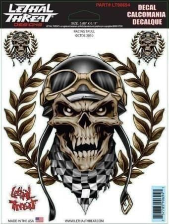 Lethal Threat Aufkleber Racing Skull