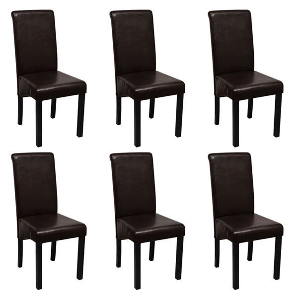 esszimmerstuhl kunstleder braun 6er set in zug kaufen bei. Black Bedroom Furniture Sets. Home Design Ideas